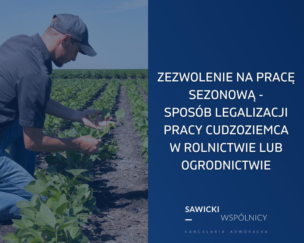 Zezwolenie na pracę sezonową - sposób legalizacji pracy cudzoziemca w rolnictwie lub ogrodnictwie